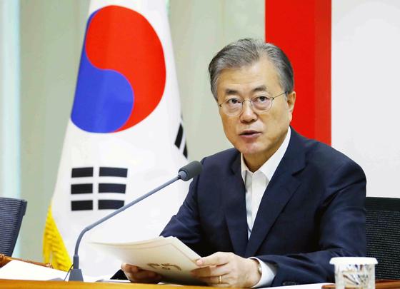 문재인 대통령이 10일 오전 성북구 한국과학기술연구원(KIST)에서 열린 현장 국무회의에서 발언하고 있다. [연합뉴스]