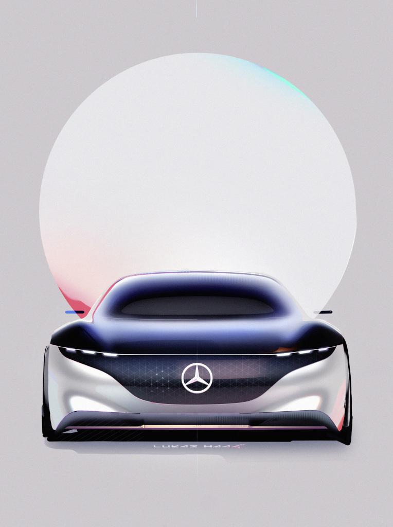 각 헤드램프마다 두 개씩 적용된 홀로그래픽 렌즈 모듈은 차량 외부의 라이트 벨트와 이어진다. [사진 메르세데스-벤츠]