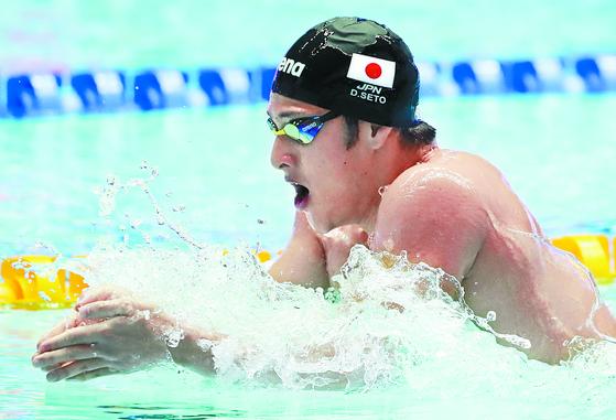 지난 7월 광주세계수영선수권대회에서 남자 개인혼영 200m와 400m에서 우승한 일본 선수 세토 다이야. [연합뉴스]
