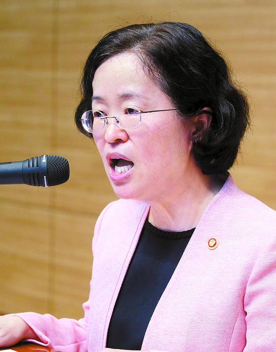 조성욱 신임 공정거래위원장이 10일 오후 정부 세종청사에서 취임사를 하고 있다. [연합뉴스]