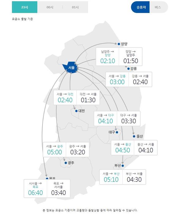 11일 오후 11시 기준 귀성길 교통정보. [한국도로공사 홈페이지 캡처]