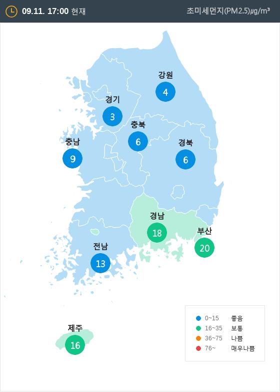 [9월 11일 PM2.5]  오후 5시 전국 초미세먼지 현황