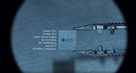 새로운 아이폰11시리즈에 탑재된 'A13 바이오닉' AP칩 [사진 유튜브 캡처]
