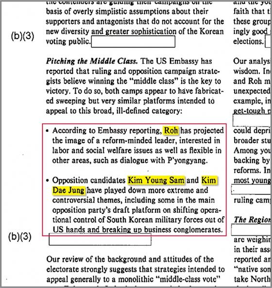 CIA 정보실에서 작성한 '한국 유권자 분포' 분석 보고서에는 노태우, 김영삼, 김대중 후보의 평가가 나온다. / 사진:www.scribd.com 캡쳐