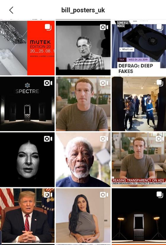 디지털 예술작가 빌 포스터의 인스타그램. '스펙터 프로젝트'로 트럼프 미 대통령, 배우 모건 프리먼, 킴 카다시안 등의 '딥페이크' 영상이 올라와 있다. [인스타그램]