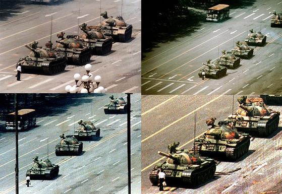 1989년 중국 톄안먼 민주화 시위 당시 맨몸으로 탱크 행렬에 맞섰던 '탱크맨'을 찍은 4개의 사진. 시계방향으로 AP통신 소속의 제프 와이드너, 타임 소속의 슈왈츠 프랭클린, 뉴스위크의 찰리 콜, 로이터의 아더 창 기자의 작품이다. 그해 세계보도사진상은 탱크맨의 모습을 가장 근접하게 찍은 찰리 콜에게 돌아갔다. [출처=petapixel]