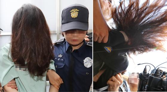 고유정이 지난 2일 두 번째 재판을 받기 위해 제주지법으로 이송되고 있다. 오른쪽은 검거 직후 카메라 앞에서 얼굴을 가리는 모습. [연합뉴스]