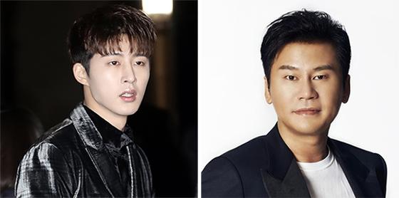 가수 비아이(左)와 양현석 전 YG엔터테인먼트 대표. [중앙일보]