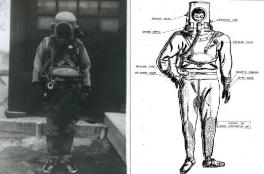 왼쪽 사진은 후쿠류 장비를 입은 특공대원을 촬영한 것으로 전후 기밀해제된 자료다. 오른쪽 사진은 1946년 1월 미국 해군이 작성한 후쿠류 장비 개념도다. [사진 미 해군]