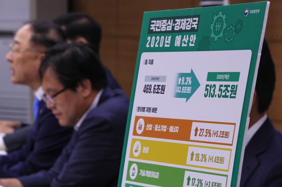 한국은행 연구에 따르면 정부지출이 1원 늘면 GDP는 1.27원 늘어나는 효과가 있다. 사진은 지난달 27일 홍남기 경제부총리가 내년도 예산안을 설명하는 모습. [연합뉴스]