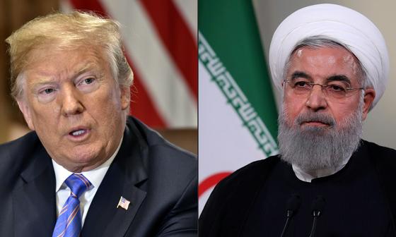 도널드 트럼프 미국 대통령(왼쪽)과 하산 로하니 이란 대통령. [AFP=연합뉴스]