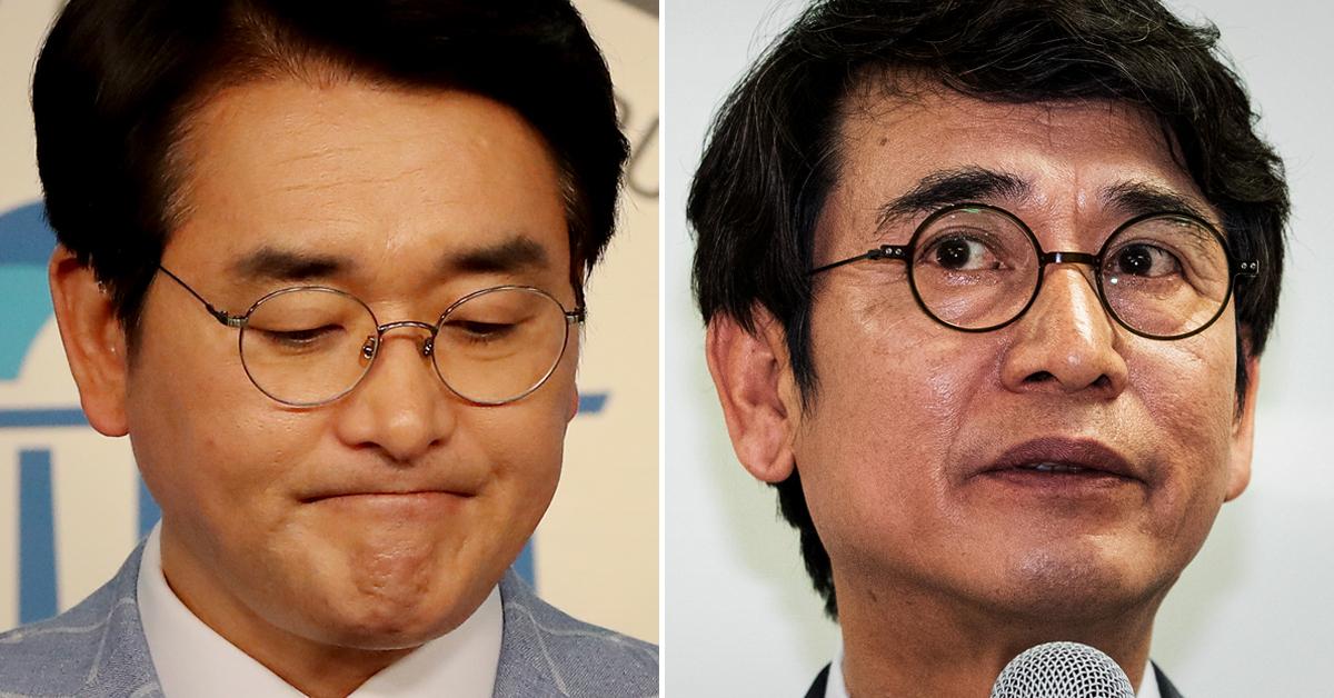 박용진 더불어민주당 의원(왼쪽)과 유시민 노무현재단 이사장. [연합뉴스]