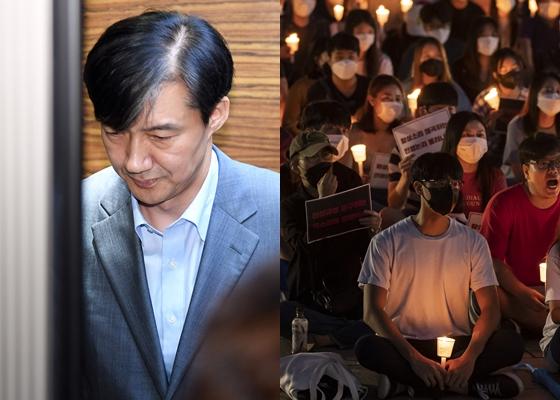 조국 법무부 장관(왼쪽)과 지난달 서울 성북구 고려대 중앙광장에서 열린 2차 촛불집회.[중앙포토]