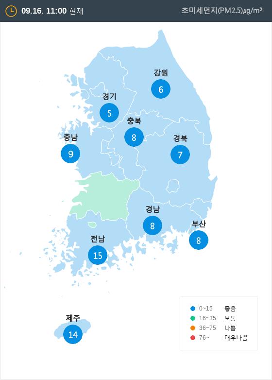 [9월 16일 PM2.5]  오전 11시 전국 초미세먼지 현황