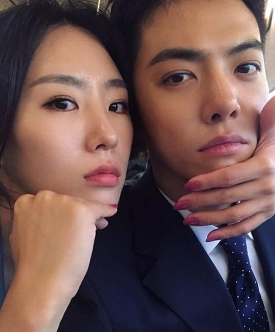 다음 달 결혼을 앞둔 이상화(왼쪽)와 강남. [사진 강남 인스타그램]