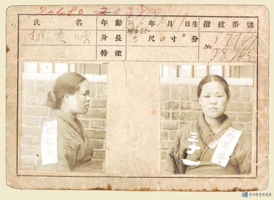 1919년 투옥된 유관순 열사의 '일제감시대상카드' 기록. [국사편찬위원회 홈페이지]