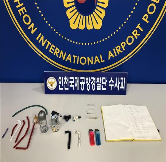 국내에 불법 체류하며 필로폰을 상습 투약한 외국인들이 경찰에 붙잡혔다. [사진 인천공항경찰단]