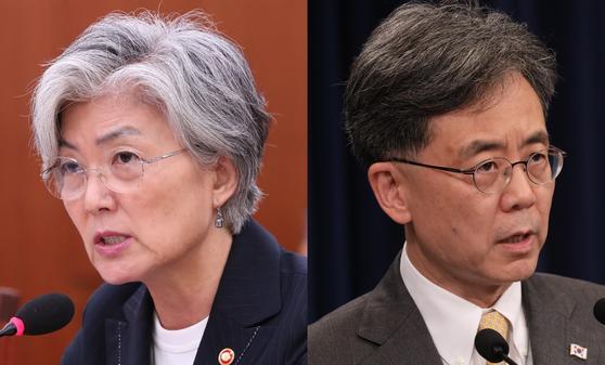 강경화 외교부 장관(왼쪽)과 김현종 국가안보실 2차장. [연합뉴스]