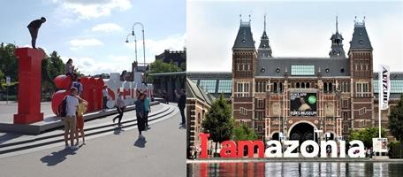 'I amsterdam' 조형물은 환경파괴와 기후 위기를 인식하자는 뜻을 담은 'I amazonia'로 바뀌었다. [사진 강하라, 심채윤 / Greenpeace]