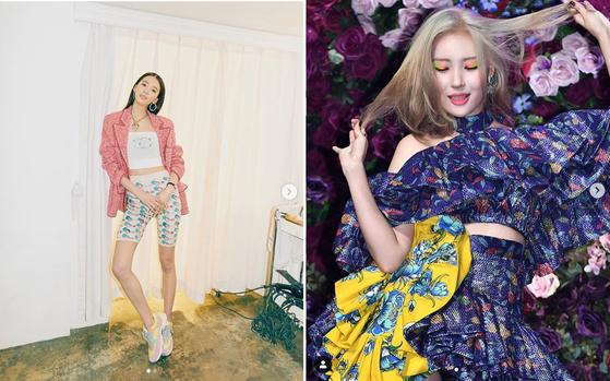 1 서로 다른 패턴의 옷을 매치한 모델 아이린. 2 가수 선미가 무대 에서 선보인 패턴믹스매치 패션. [사진 아이린,선미 인스타그램]