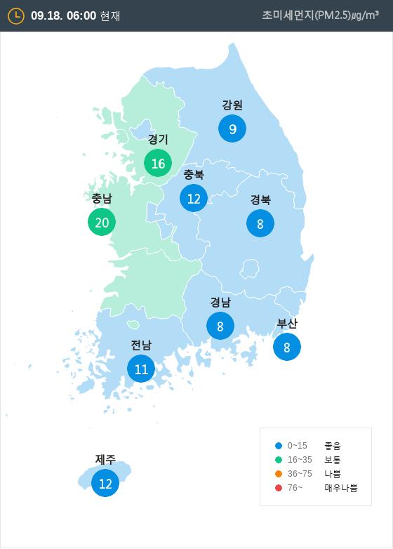 [9월 18일 PM2.5]  오전 6시 전국 초미세먼지 현황