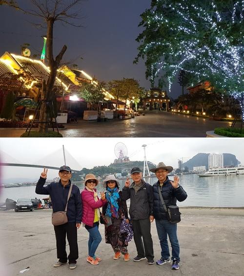 하롱베이 시가지 야경(위). 하롱베이 해변에서 일행과 함께(아래). [사진 조남대]