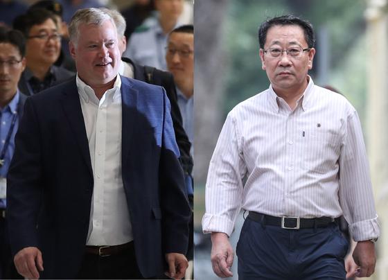 북미 3라운드 협상을 벌일 것으로 알려진 스티븐 비건 미 국무부 대북특별대표와 김명길 전 북한 베트남 대사.