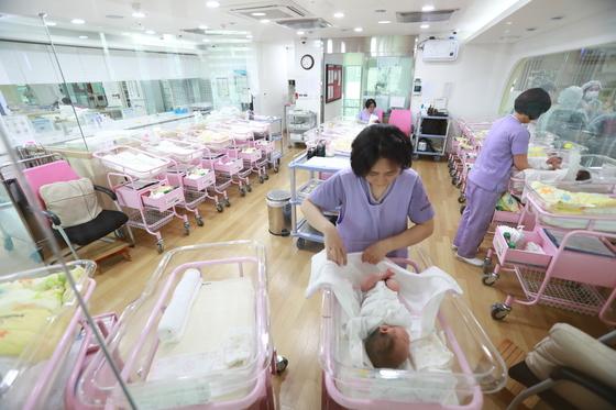 2014년 서울 송파구는 전국에서 최초로 구립 산후조리원을 열었다. 조리원에서 신생아를 돌보고 있다. [중앙포토]