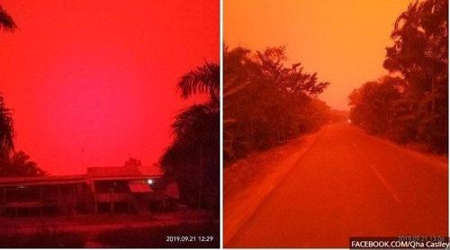 인도네시아 산불 지역에 나타난 '붉은 하늘' 현상. [트리뷴뉴스=연합뉴스]