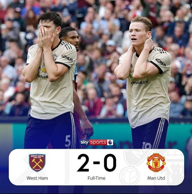 잉글랜드 맨체스터 유나이티드가 22일 웨스트햄에 0-2로 졌다. 맨유는 8위까지 추락했다. [사진 스카이스포츠 인스타그램]