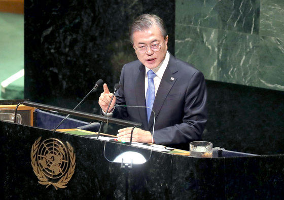 문재인 대통령이 24일 오전(현지시간) 미국 뉴욕 유엔본부에서 열린 제74차 유엔총회에서 기조연설을 하고 있다. 강정현 기자