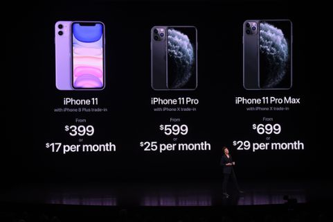 애플이 내놓은 신작 아이폰11시리즈의 미국 가격.[AFP=연합뉴스]
