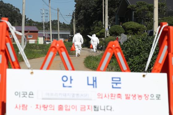 18일 경기도 연천군의 한 양돈농가에서 아프리카돼지열병(ASF)이 발생해 방역당국 관계자들이 농장으로 들어가고 있다. [연합뉴스]