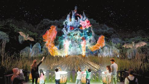 2019경주세계문화엑스포가 오는 10월 11일~11월 24일 경주엑스포공원에서 개최된다. 경주타워 뒤편 화랑숲에서 펼쳐지는 야간 어드벤처 프로그램 '신라를 담은 별'의 예상도. [사진 (재)문화엑스포]