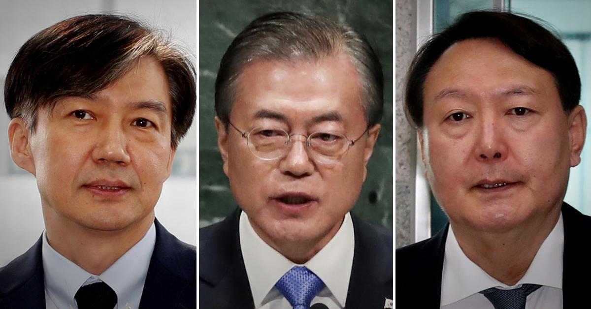 왼쪽부터 조국 법무부 장관, 문재인 대통령, 윤석열 검찰총장. [연합뉴스·뉴스1]