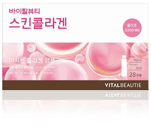 업그레이드 출시되는 바이탈뷰티 스킨콜라겐은 콜라겐 펩타이드와 함께 갈락토올리고당인 뷰티올리고, 피부 영양소인 밀크세라마이드가 추가됐다. 저분자 피쉬콜라겐 펩타이드 3000㎎을 함유하고 있다. [사진 아모레퍼시픽]