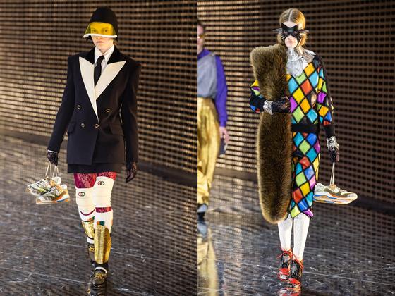 구찌 2019 가을겨울 컬렉션 쇼. 여성 모델들이 손에 가방 대신 '울트라페이스' 스니커즈를 들고 무대 위를 걷고 있다.