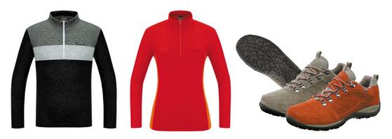 레드페이스의 '리치 멜란 짚 티셔츠'(왼쪽)와 '미니 립 플리스 짚 티셔츠'는 기능성과 멋을 겸비한 아웃도어 신상품이다. 신발은 한국 산악 지형에 최적화된 '콘트라 샌드 등산화'. [사진 레드페이스]