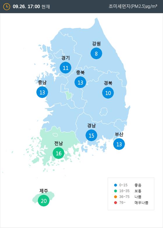 [9월 26일 PM2.5]  오후 5시 전국 초미세먼지 현황