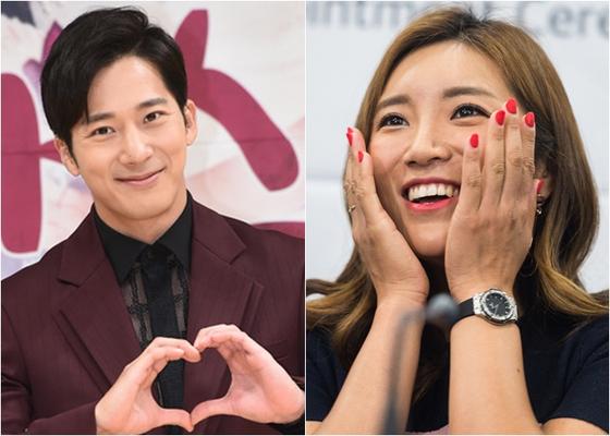 배우 이완(왼쪽)과 프로골퍼 이보미. [뉴스1]