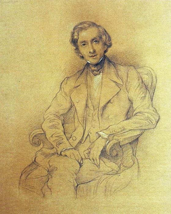 프레데릭 쇼팽. 샤를-앙리 리망 Charles-Henri Lehmann. 1847. 바르샤바 프레데릭 쇼팽 기념관.
