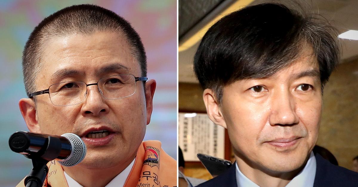황교안 자유한국당 대표(왼쪽)과 조국 법무부 장관. [뉴스1]