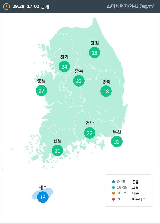 [9월 29일 PM2.5]  오후 5시 전국 초미세먼지 현황