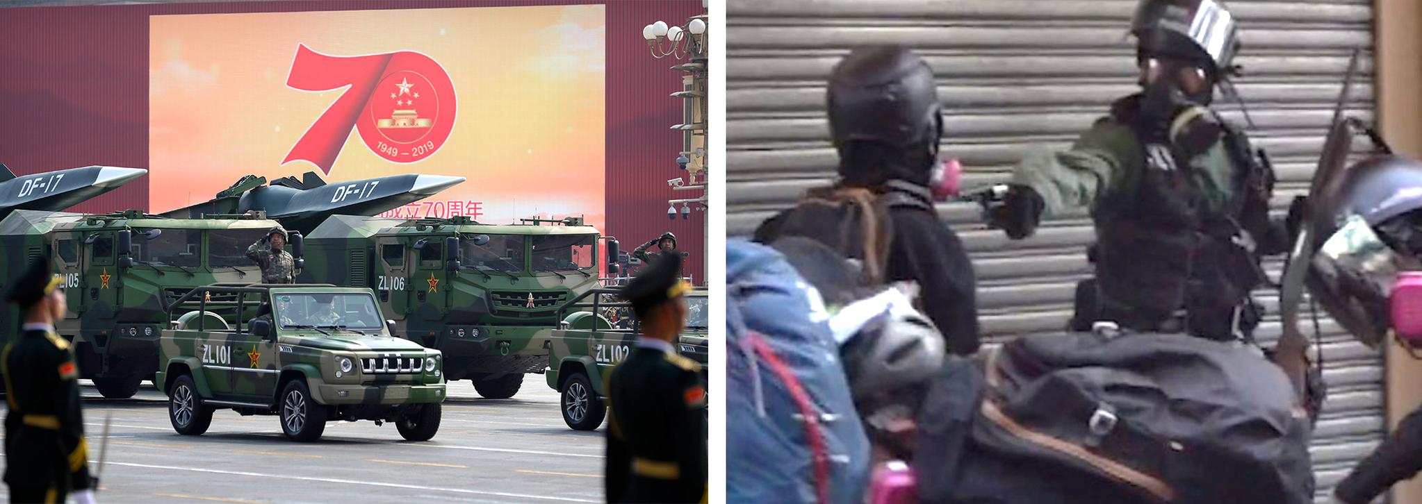 건국 70주년 기념일(1일)을 맞아 중국 베이징 천안문광장에서 열린 열병식 모습. 오른쪽 사진은 같은날 홍콩 북부 췬완 지역에서 홍콩 경찰이 한 시위대에게 총을 겨누는 모습. 이 시위대는 총알에 맞아 쓰러졌다. [AP=연합뉴스, 사진 페이스북]
