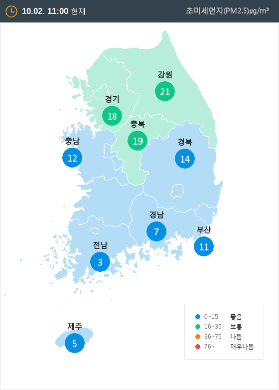 [10월 2일 PM2.5]  오전 11시 전국 초미세먼지 현황