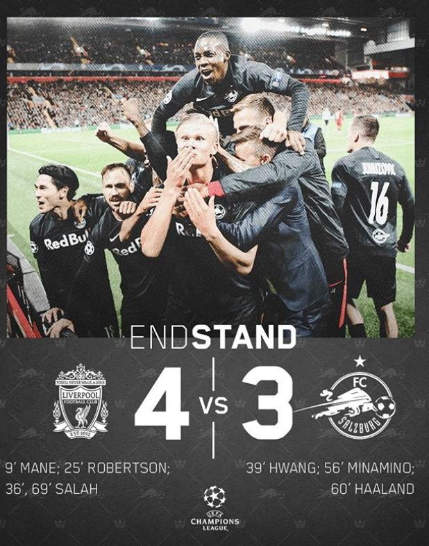 잘츠부르크는 유럽 최강팀 리버풀에 3-4로 석패했다. [사진 잘츠부르크 소셜미디어]