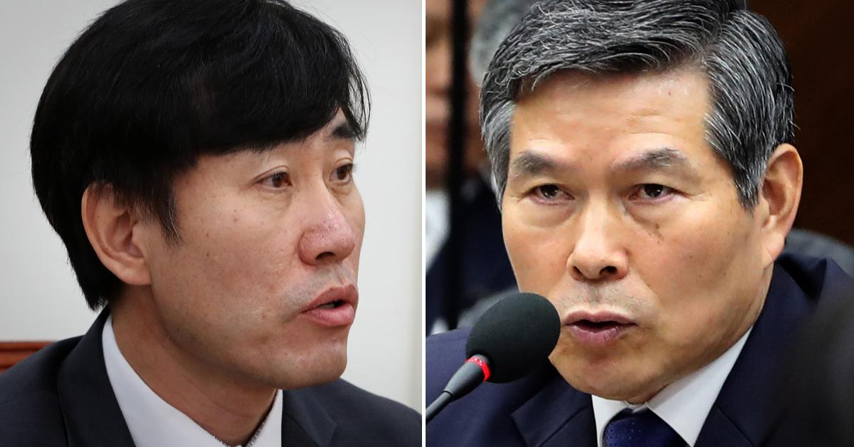 하태경 바른미래당 의원(왼쪽)과 정경두 국방부 장관. [연합뉴스·뉴스1]
