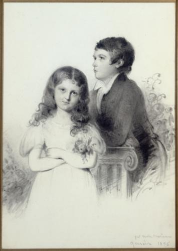 조르주 상드의 아들 모리스와 딸 솔랑주. 메리엔느 낭시의 드로잉. 상드가 아이들을 데리고 스위스에 있을 때의 그림. 1836년. 수채화. Musee de la Vie Romantique 소장.