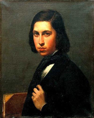 모리스 뒤드방. 조르주 상드의 아들. 루이기 칼라마타의 부인이며 뒤에 모리스의 장모가 되는 조세핀 로쉐트의 유화. 1845년. 프랑스 국립 도서관 소장. [출처, Wikimedia Commons (Public Domain)]