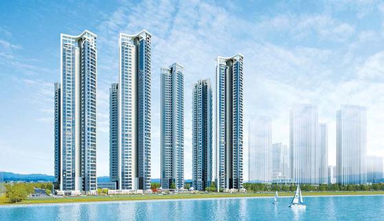 대방건설이 인천 송도국제도시에 처음으로 선보이는 송도국제도시 디엠시티 시그니처 뷰 투시도.